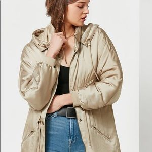 Urban Outfitters Gold Satin Parka Coat